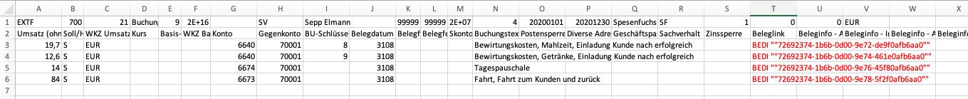 Abb. 14: Beleglink in der CSV Datei für die XML + CSV Schnittstelle