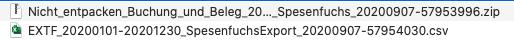 Abb. 11: Dateien in der XML + CSV Schnittstelle (a)