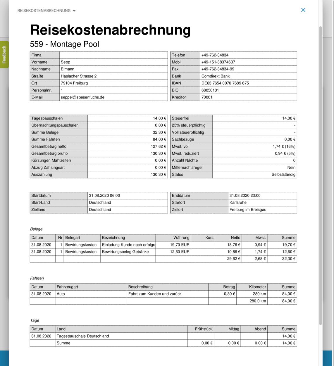 Abb.2: Reisekostenabrechnung Spesenfuchs